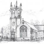 Drawing of Closeburn church
