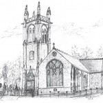 Drawing of Closeburn church